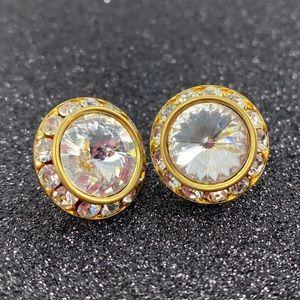 Elegant Vintage Crystal Rhinestone Earrings / Glam